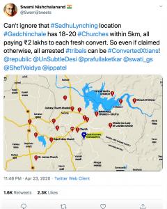 Hindu leader Swami Nischalanand's tweet stirring up anti-Christian sentiment. (Morning Star News screenshot)