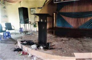 Damage from fire set at Baptist church building in Damba Kasaya village, Kaduna state, Nigeria. (Facebook)