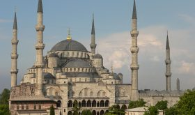 Sultan Ahmed Mosque, also known as the Blue Mosque, in Istanbul, Turkey. (Wikipedia)