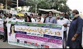 Protest for recovery of Arzoo Raja in Karachi, Pakistan. (Morning Star News photo courtesy of Ghazala Shafique)