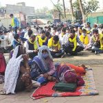 Leela Bai and other protestors ouside Thikri police station in Madhya Pradesh, India in early January 2021. (Morning Star News)