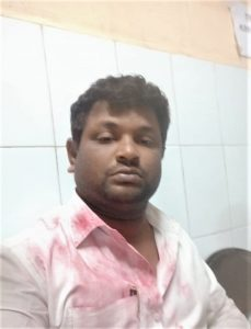 Pastor Devendhrappa Jamalappa Lamani at hospital after attack in Koppal District, Karnataka state, India. (Morning Star News)
