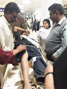 Saleem Masih is treated after being tortured in Kasur District, Pakistan on Feb. 25, 2020. (Morning Star News courtesy of PCLJ)