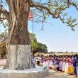 Villagers outside Ranchi, Jharkhand in tribal worship ritual at sarna tree. (Gurpreet Singh Ranchi, Creative Commons)