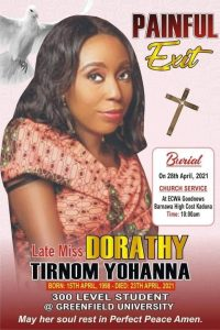Funeral notice for Christian student abducted and killed in Chikun County, Kaduna state, Nigeria. (Morning Star News)