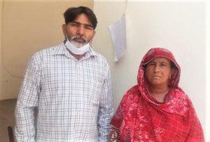 Rights worker Riaz Aasi with Salima Rani Bibi. (Morning Star News)